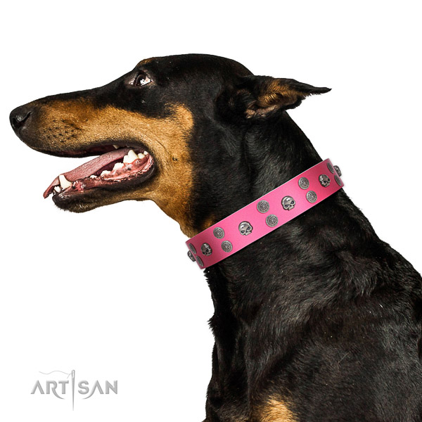 Comfortable wearing leather dog collar with studs