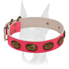 Luxury style pink collar for female Doberman