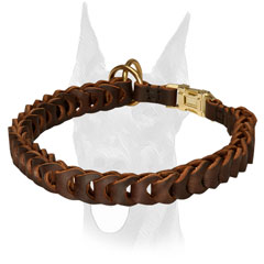 Doberman collar with brass plated O-rings