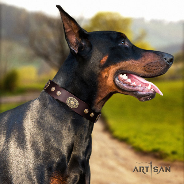Doberman stylish design leather collar with decorations for your dog