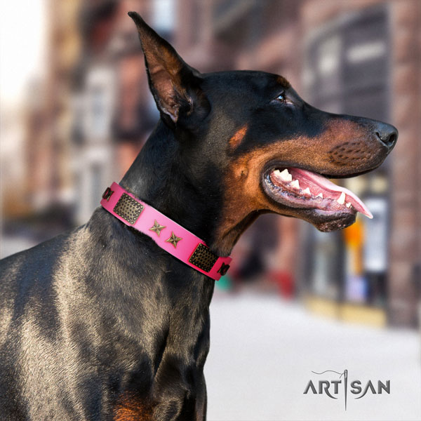 Doberman full grain genuine leather dog collar with embellishments for your attractive pet