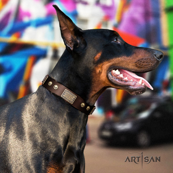 Doberman exquisite full grain genuine leather collar with embellishments for your pet