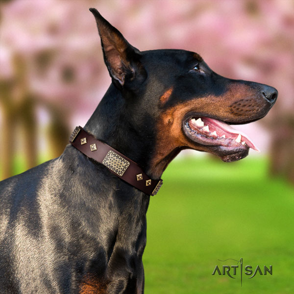 Doberman easy to adjust leather collar with decorations for your pet