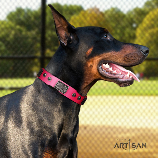 Doberman top quality natural genuine leather collar with decorations for your dog