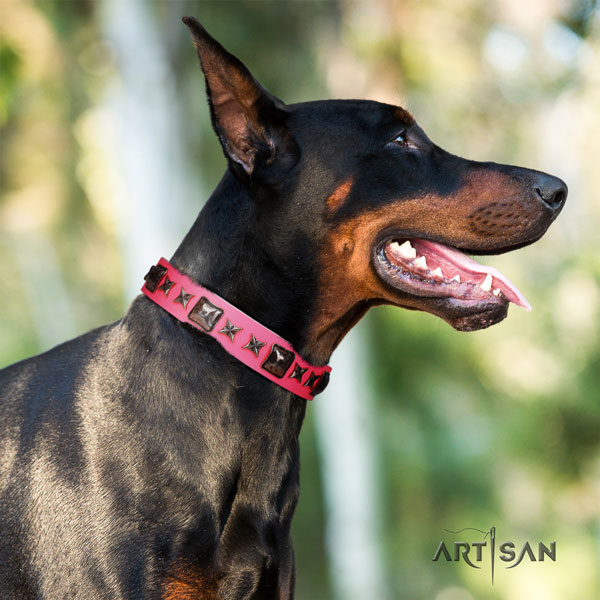 Doberman leather dog collar with decorations for your beautiful canine