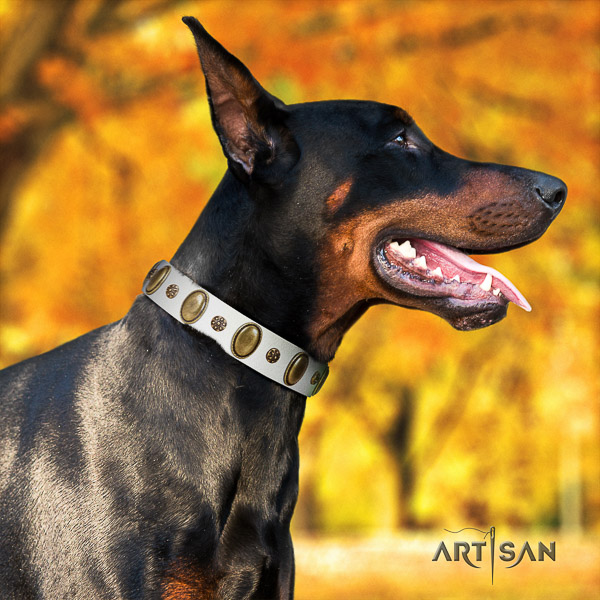 Doberman walking leather collar with decorations for your doggie