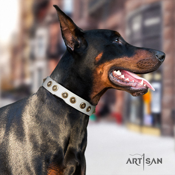 Doberman everyday use full grain genuine leather collar with studs for your dog