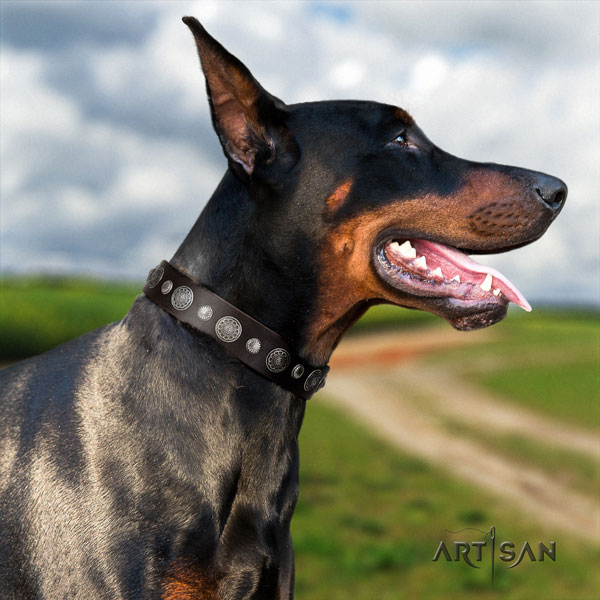 Doberman easy adjustable genuine leather collar with adornments for your pet