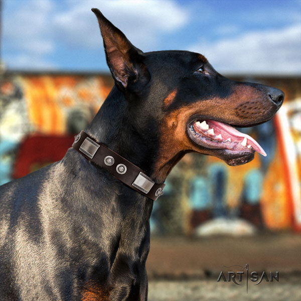Doberman handcrafted genuine leather collar with studs for your doggie