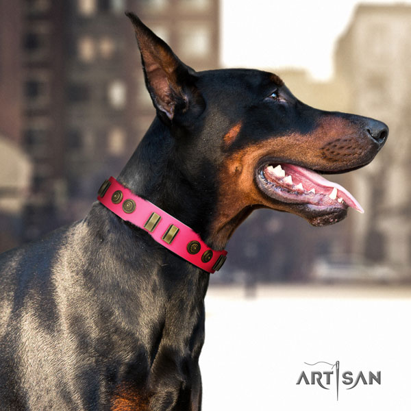 Doberman unusual leather collar with studs for your doggie
