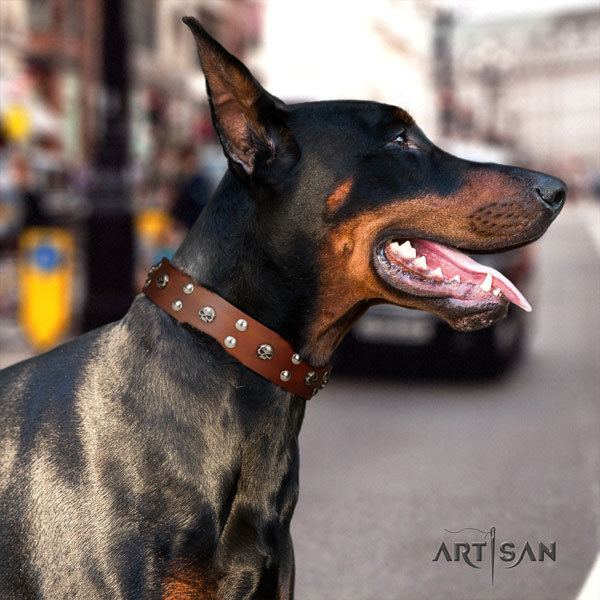 Doberman natural genuine leather dog collar with studs for your lovely doggie