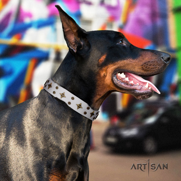 Doberman full grain leather dog collar with studs for your impressive dog