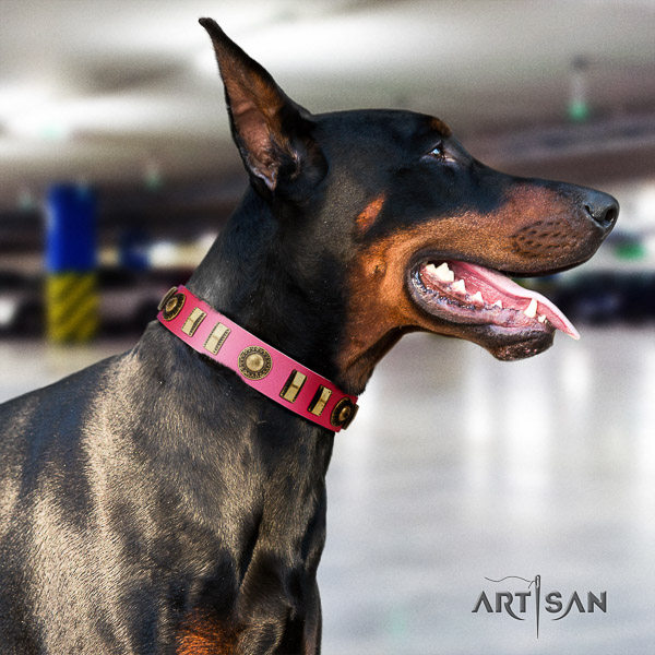 Doberman basic training genuine leather collar with decorations for your pet