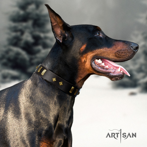 Doberman stylish walking genuine leather collar with adornments for your dog