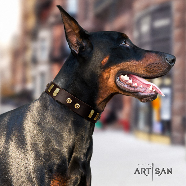 Doberman fancy walking full grain leather collar with stylish decorations for your dog