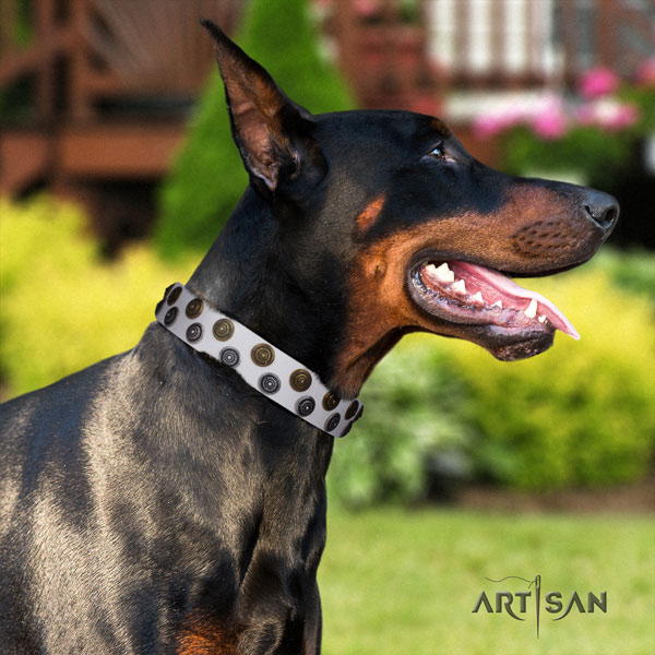 Doberman full grain leather dog collar with decorations for your lovely pet