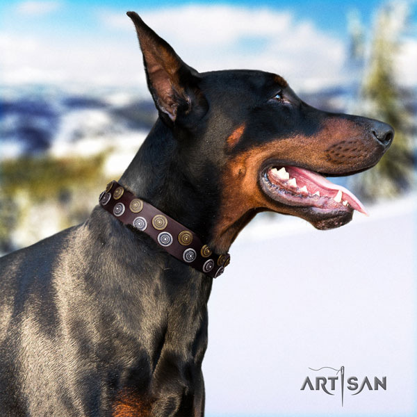 Doberman genuine leather dog collar with decorations for your attractive canine