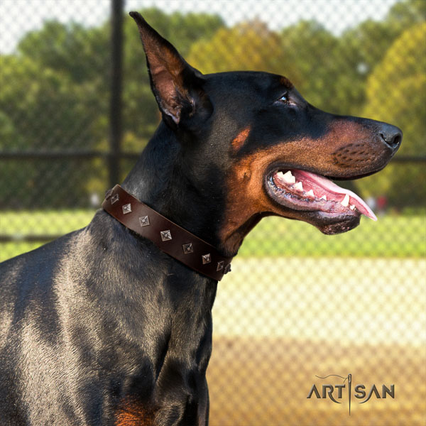 Doberman genuine leather dog collar with decorations for your attractive dog