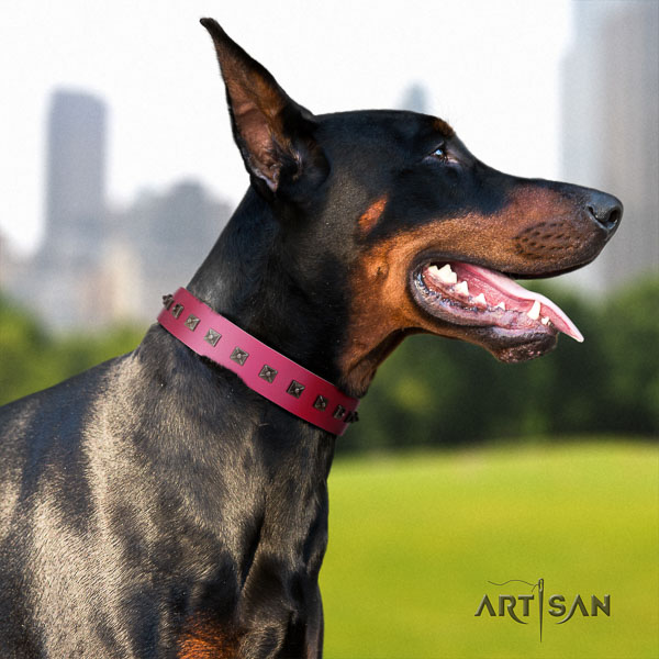 Doberman natural genuine leather dog collar with adornments for your lovely four-legged friend