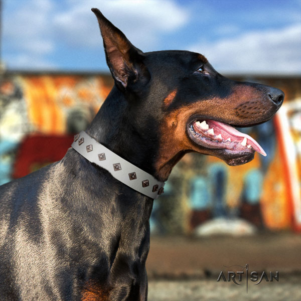 Doberman leather dog collar with embellishments for your impressive four-legged friend
