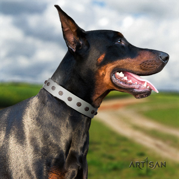 Doberman natural genuine leather dog collar with embellishments for your stylish dog