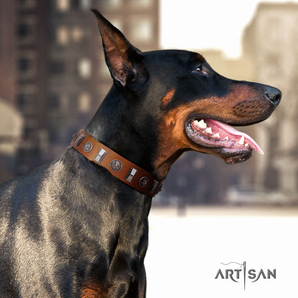 Doberman natural genuine leather dog collar with decorations for your impressive four-legged friend