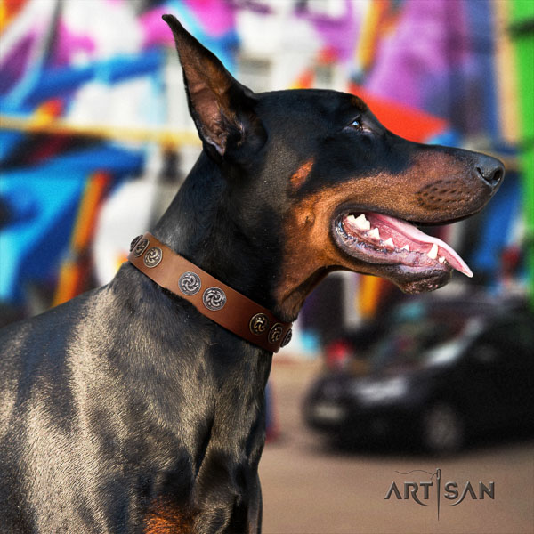 Doberman full grain leather dog collar with decorations for your lovely four-legged friend