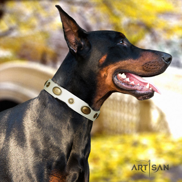 Doberman designer leather collar with decorations for your four-legged friend