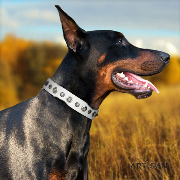 Doberman convenient natural genuine leather collar with adornments for your pet