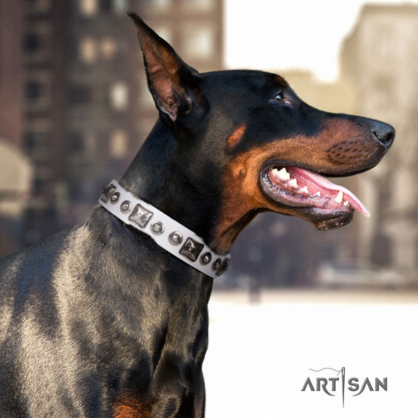 Doberman full grain leather dog collar with decorations for your beautiful four-legged friend