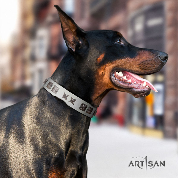 Doberman full grain leather dog collar with embellishments for your lovely canine