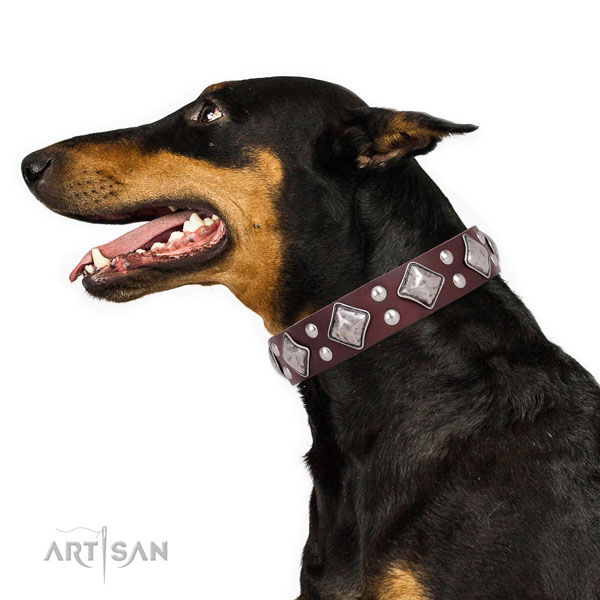 Doberman easy adjustable full grain natural leather dog collar for comfy wearing
