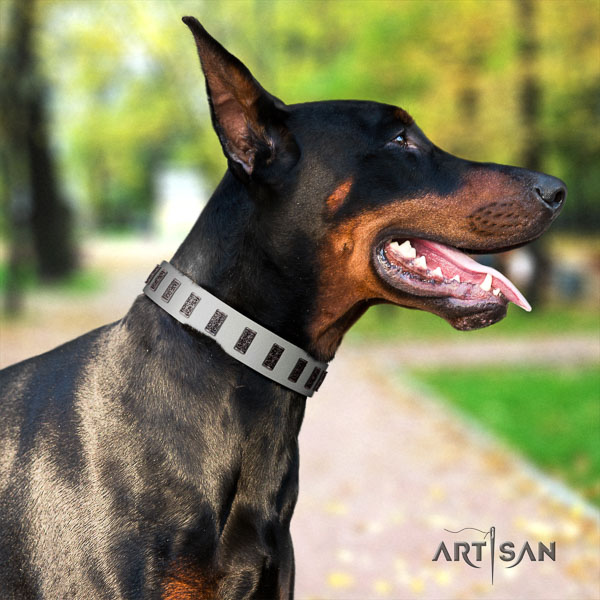 Doberman full grain natural leather dog collar with embellishments for your attractive dog