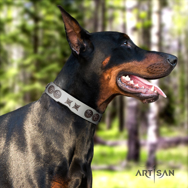 Doberman genuine leather dog collar with decorations for your beautiful four-legged friend