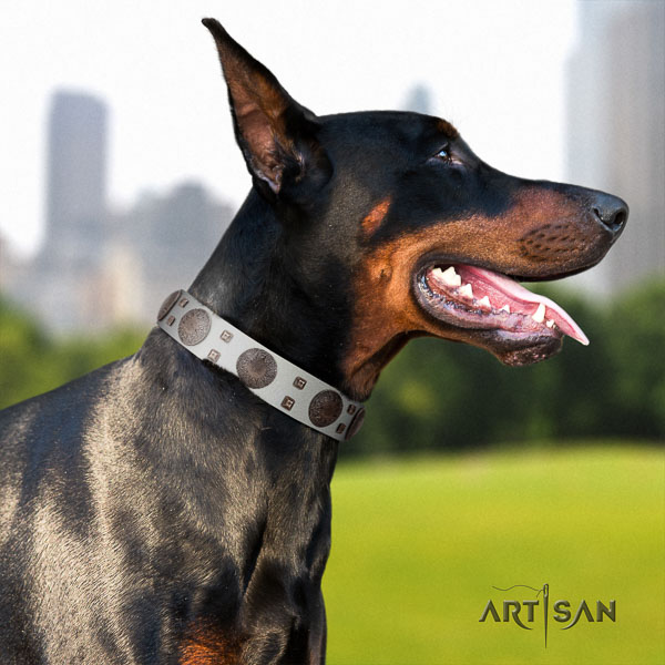 Doberman full grain natural leather dog collar with studs for your impressive canine