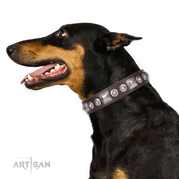 Doberman comfortable natural genuine leather dog collar for daily use