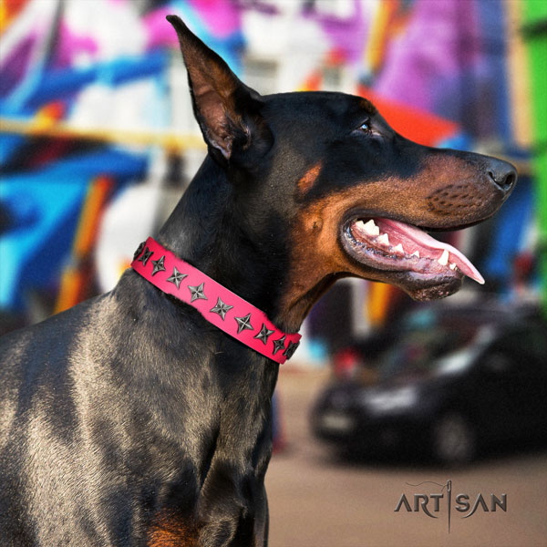 Doberman impressive full grain leather collar with decorations for your dog