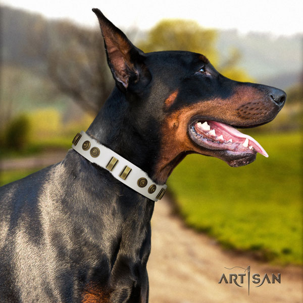 Doberman adjustable genuine leather collar with studs for your pet