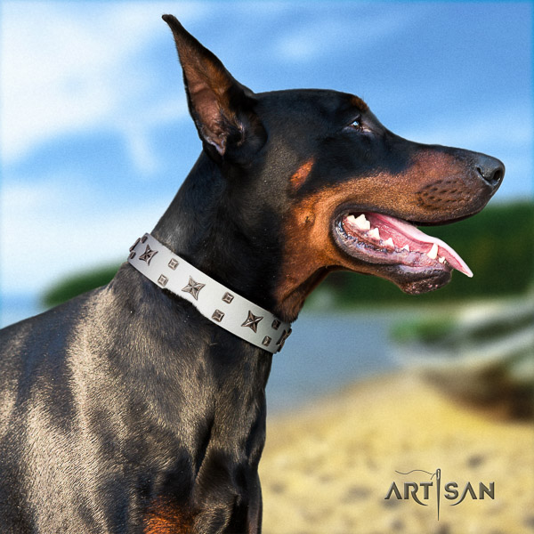 Doberman fancy walking leather collar with awesome decorations for your doggie