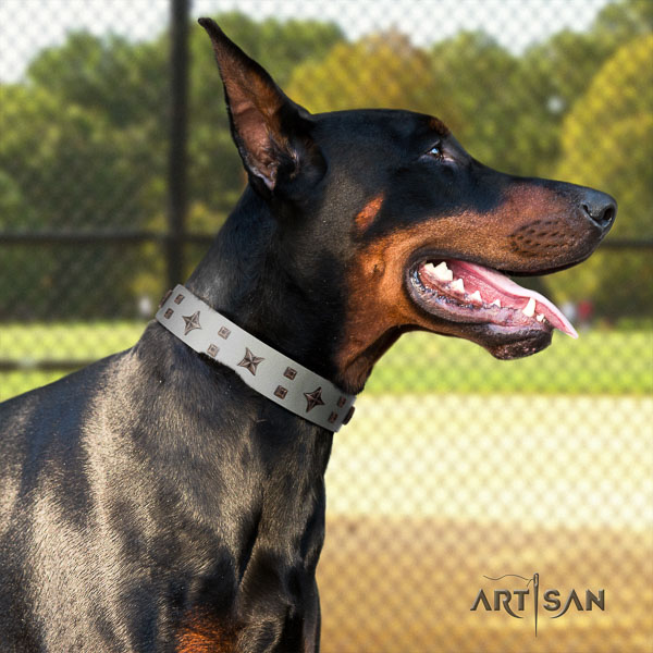 Doberman genuine leather dog collar with studs for your beautiful pet