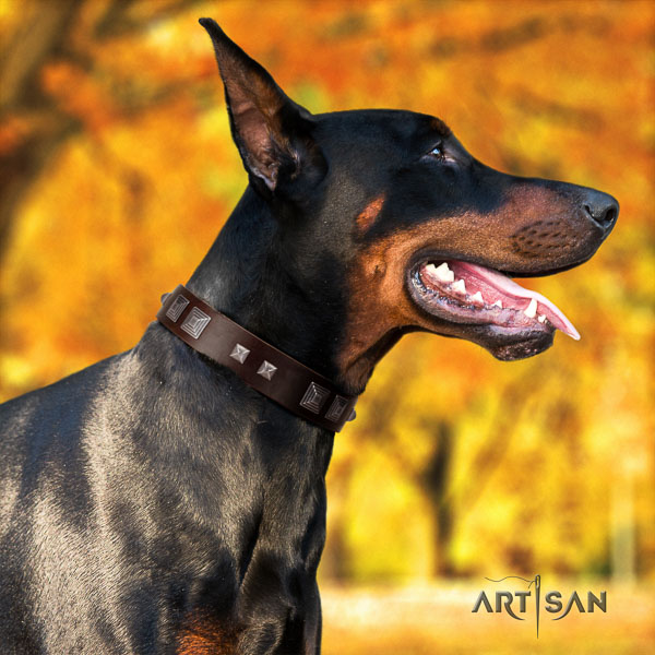 Doberman full grain genuine leather dog collar with decorations for your lovely dog