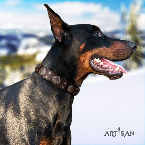 Doberman full grain natural leather dog collar with decorations for your impressive dog