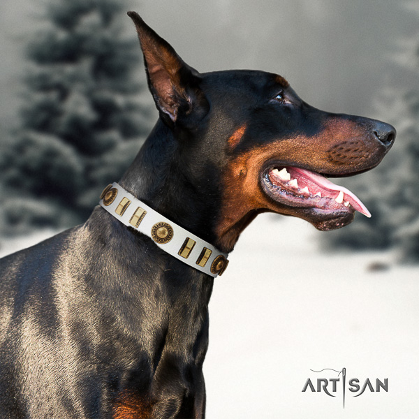 Doberman stylish walking full grain natural leather collar with decorations for your doggie