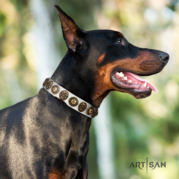 Doberman comfy wearing natural leather collar with decorations for your doggie
