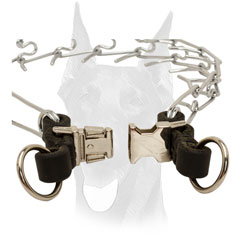 Doberman pinch collar with quick release buckle