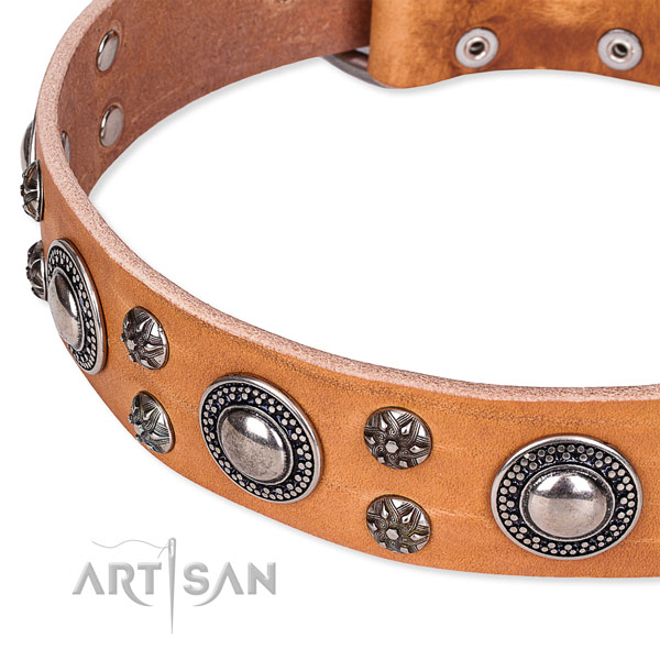 Adjustable leather dog collar with resistant durable buckle