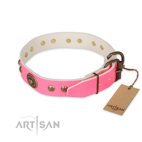 Unique design decorations on full grain genuine leather dog collar