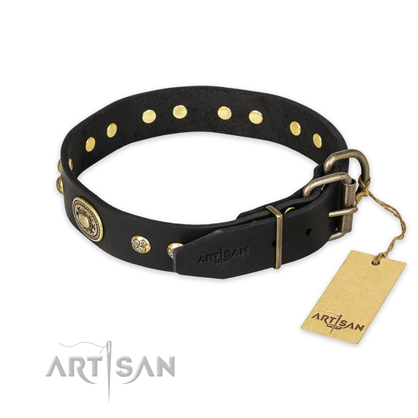 Stylish walking full grain natural leather collar with decorations for your canine