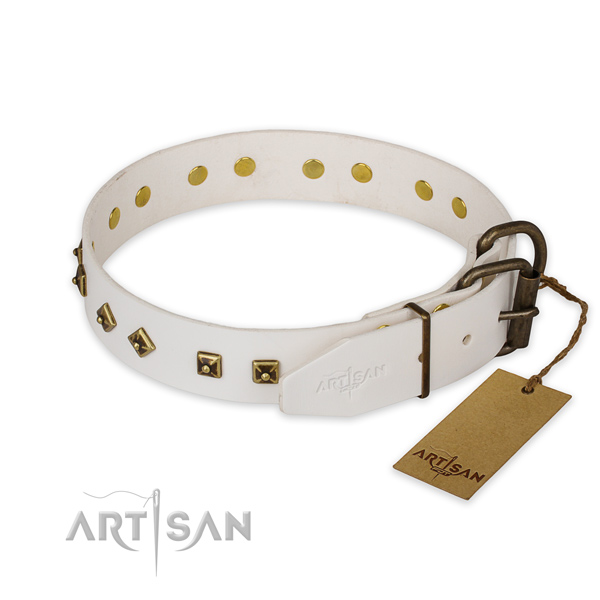 Everyday walking natural genuine leather collar with adornments for your pet