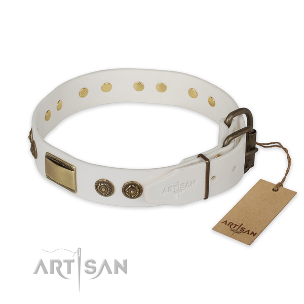 Everyday use natural genuine leather collar with adornments for your doggie
